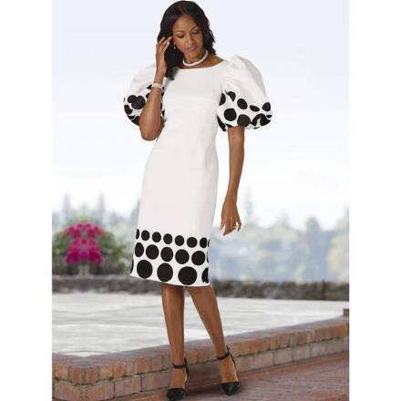 Accent on Dots Puff-Sleeve Dress by EY Boutique