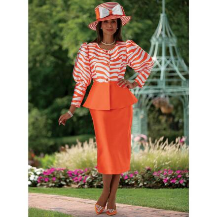 Graphic Touch Puff-Sleeve Suit by EY Boutique