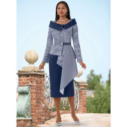 Asymmetric Stripes Suit by EY Boutique