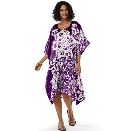 Swirlify Print Silky Short Caftan by EY Signature