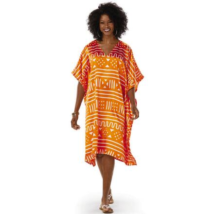 Encoded Print Silky Short Caftan by EY Signature