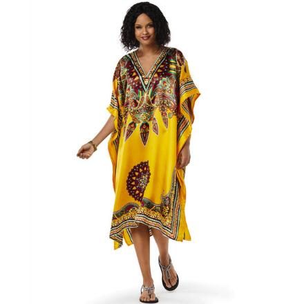 Dharma Print Silky Short Caftan by EY Signature