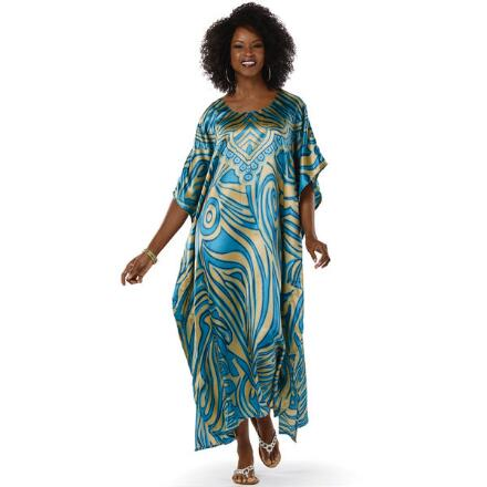 Blue Flame Print Silky Long Caftan by EY Signature