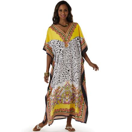 Wild Side Print Microfiber Long Caftan by EY Signature