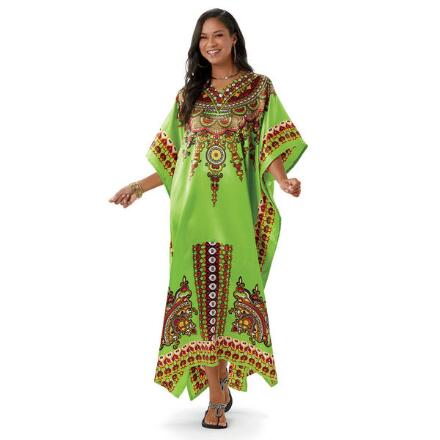 Genie Print Silky Long Caftan by EY Signature