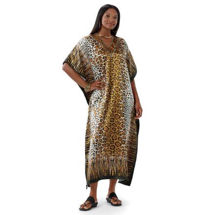 Safari Print Silky Long Caftan by EY Signature