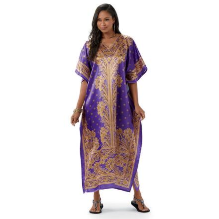 Opulence Print Silky Long Caftan by EY Signature