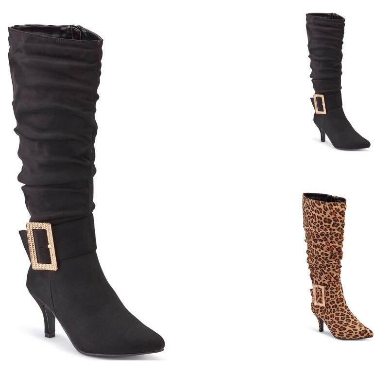 Jeweled-Buckle Sueded Slouch Boot by EY Boutique