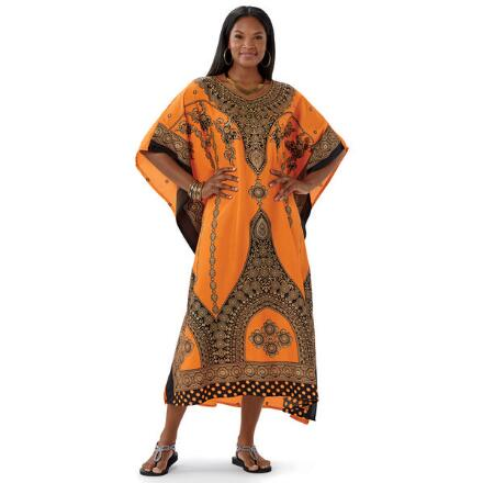 Empress Print Microfiber Long Caftan by EY Signature