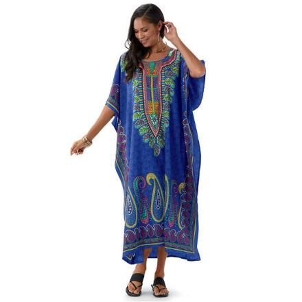 Escapade Print Microfiber Long Caftan by EY Signature