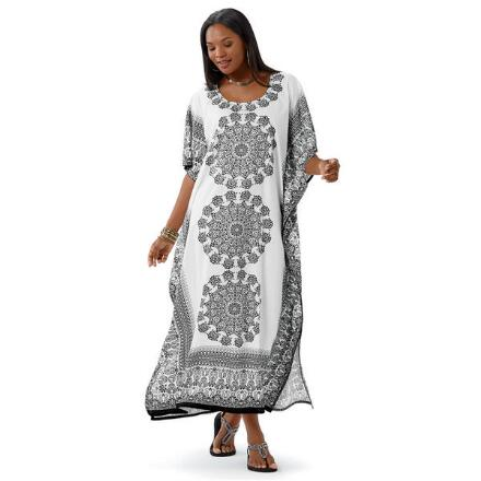 Meditation Print Microfiber Long Caftan by EY Signature