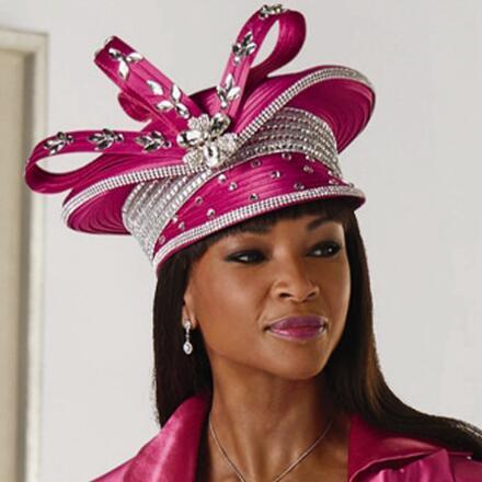 Jeweled-Trim Church Hat by Lisa Rene Black Label