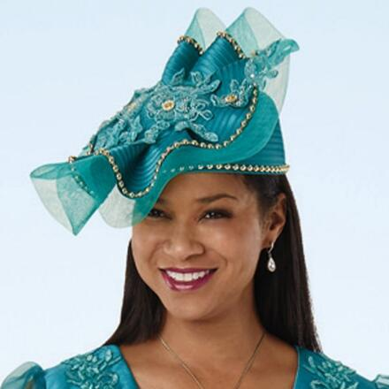 Sheer Elegance Appliqué Church Hat by EY Signature