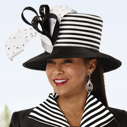 Look Sharp Stripe-Trim Church Hat by EY Boutique