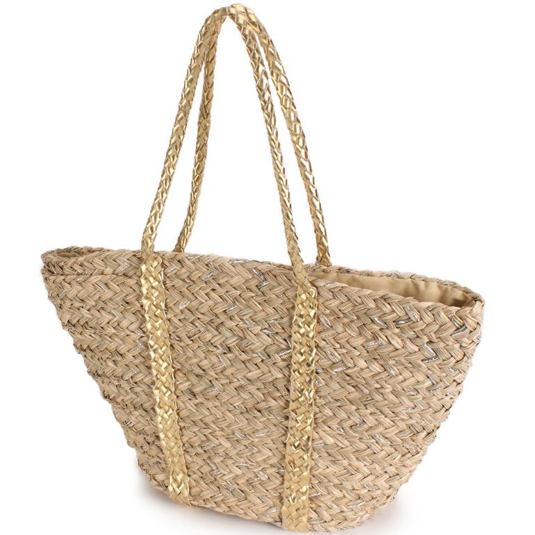Metallic Straw Tote by EY Boutique