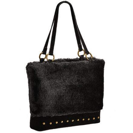 Studded Faux Fur Handbag By Ey Boutique