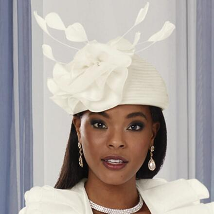 Pleated Ruffles Church Hat by LUXE