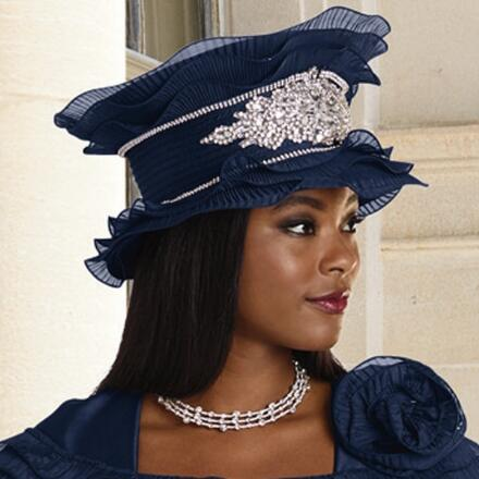 Touched with Ruffles Church Hat by Lisa Rene Black Label