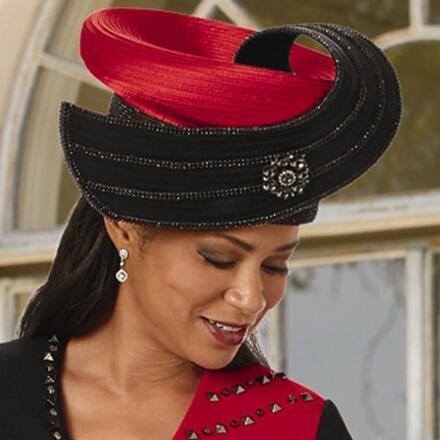 Stunning Studded Bi-Color Church Hat by Lisa Rene Black Label