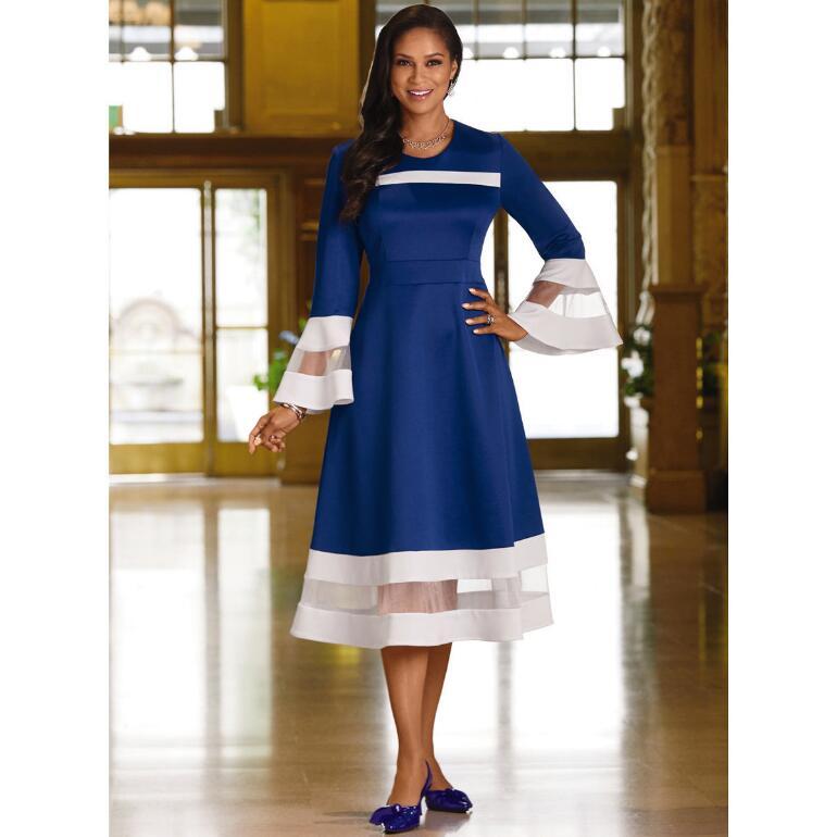 Marvelous Mesh-Stripe Dress by EY Boutique