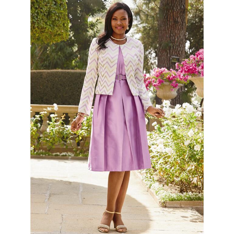 Chevron Shine Jacket Dress by EY Boutique