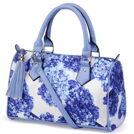 Hydrangea-Print Satchel by EY Boutique