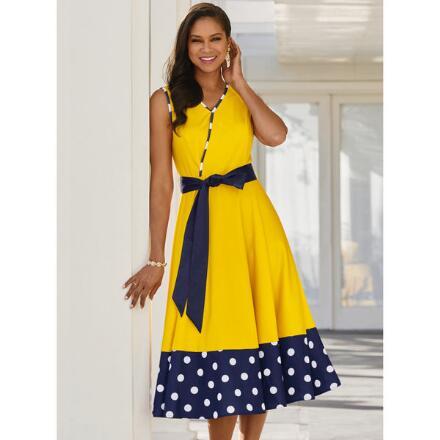 Dot-Border Knit Dress by EY Boutique