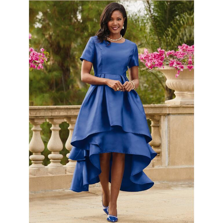 Dramatic Tiered Short-Sleeve Dress by EY Boutique