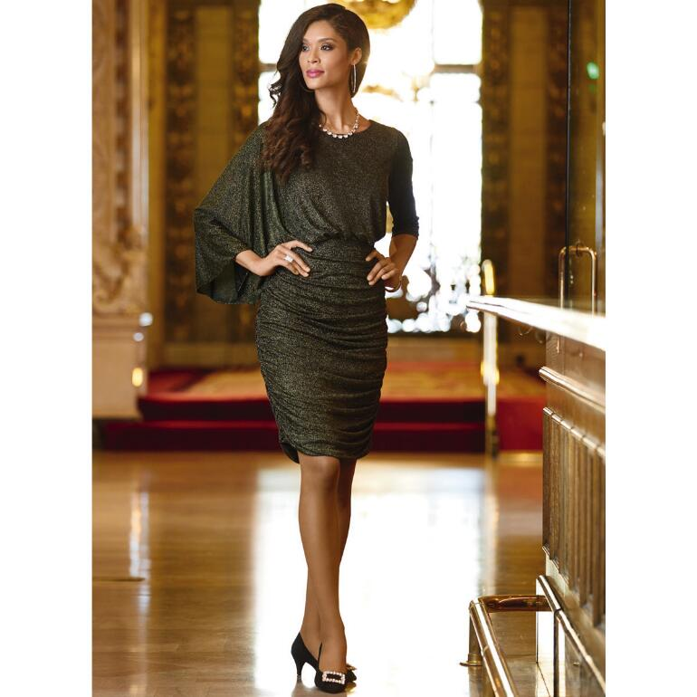 Ruched Cape-Sleeve Dress by EY Boutique