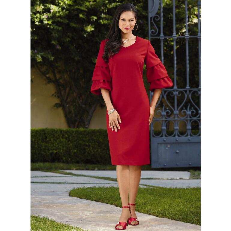 Tiered-Sleeve Dress by EY Boutique