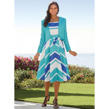 Diagonal Stripe Jacket Dress by EY Boutique