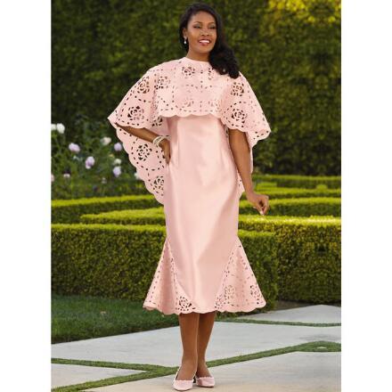 So Pretty Laser-Cut Cape Dress by EY Boutique