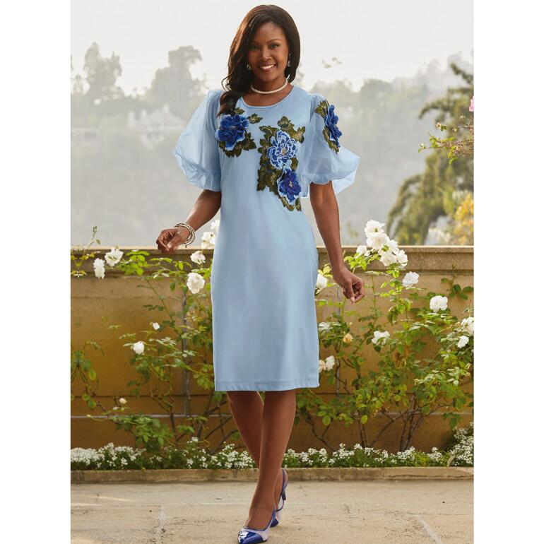 Embroidered Floral Knit Dress by EY Boutique