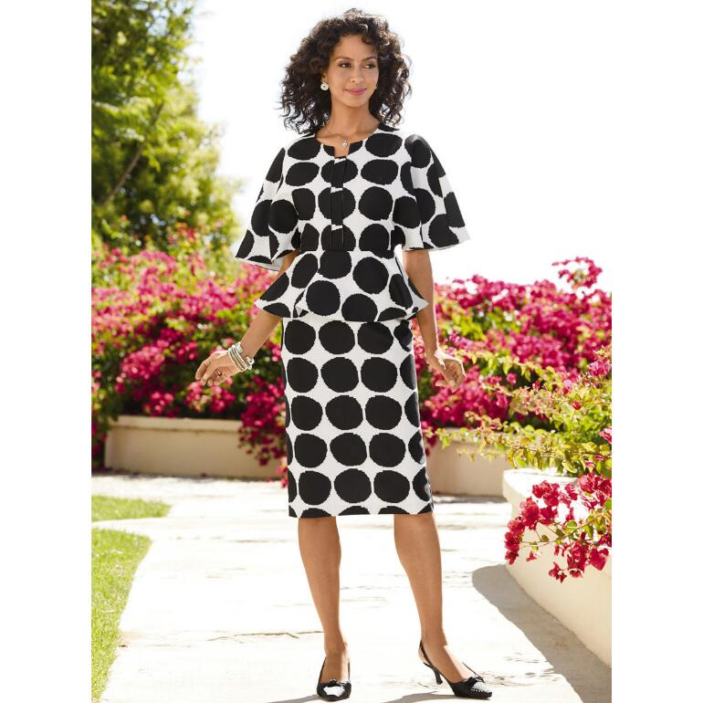 Dramatic Dots Cape-Sleeve Dress by EY Boutique
