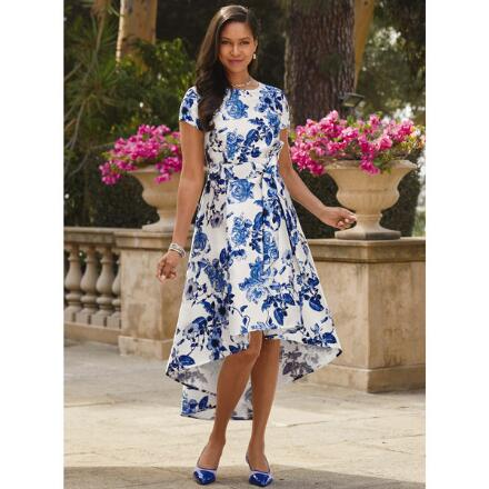 Blue Blossoms High-Low Dress by EY Boutique