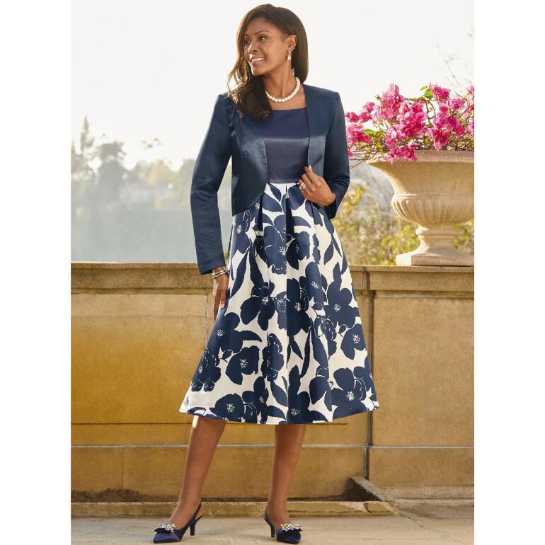 Contrast Petals Jacket Dress by EY Boutique