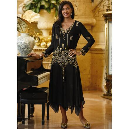 Graceful Beaded Dress and Jacket by EY Signature