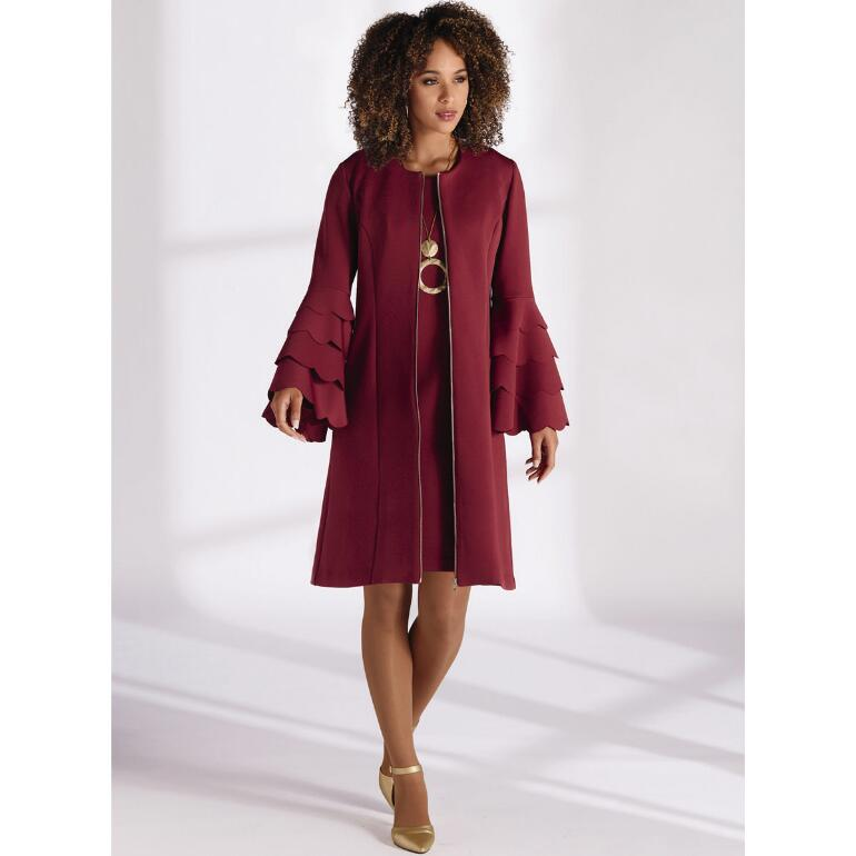 Top Tier Scalloped Knit Jacket Dress by Studio EY