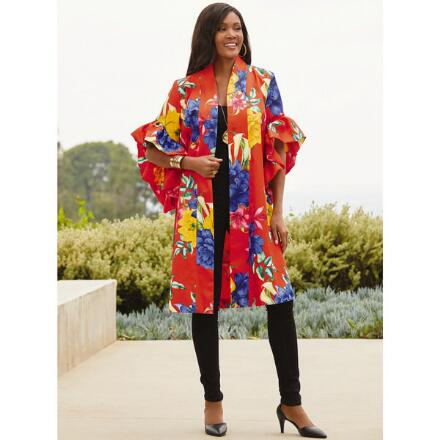 Big on Flowers Flutter-Sleeve Jacket by Studio EY