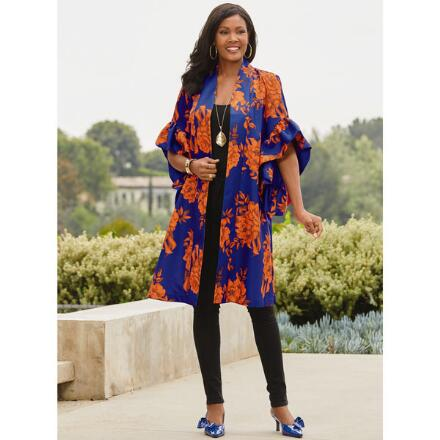 Bold Blooms Flutter-Sleeve Jacket by Studio EY