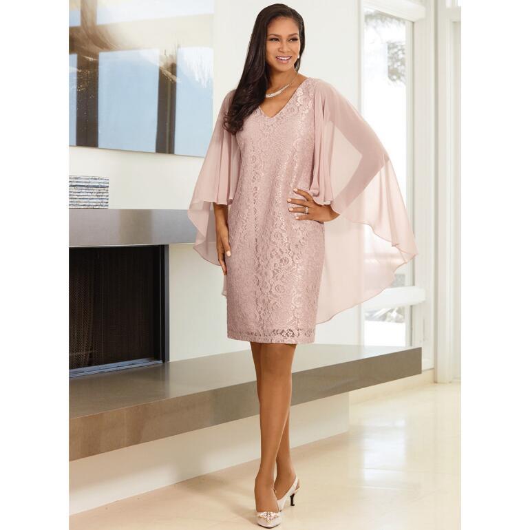 Cascading Cape Lace Dress by EY Boutique