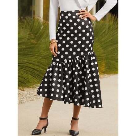 We Do Dots Asymmetric Knit Skirt by Studio EY