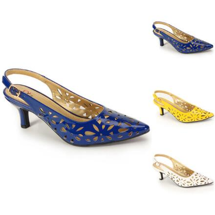 Color Closeout Laser-Lace Slingback by EY Boutique