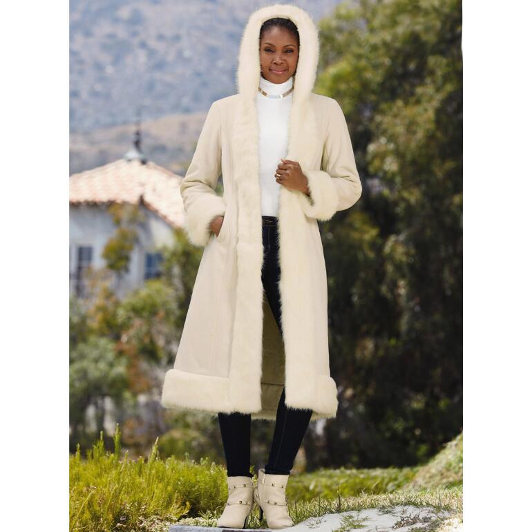 Color Closeout Faux-Shearling Long Coat by LUXE