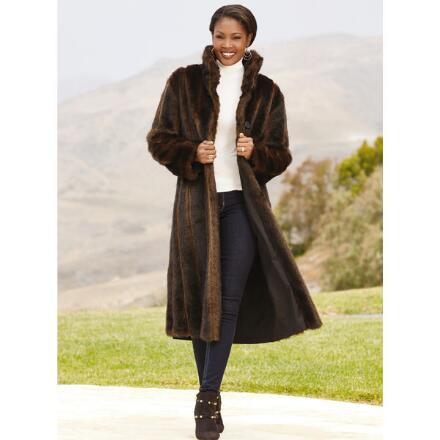 Color Closeout Reversible Faux-Mink Coat by LUXE