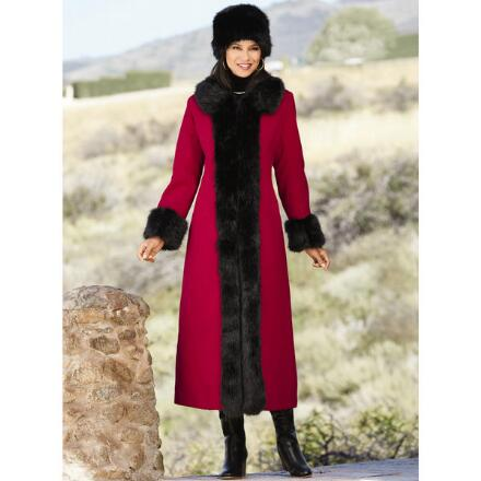 Color Closeout Royal Faux-Fur Trim Coat and Hat Set by LUXE