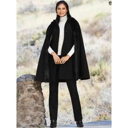 Color Closeout 3-in-1 Faux-Fur Trim Cape Vest by LUXE
