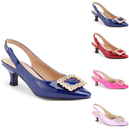 Color Closeout Jeweled-Buckle Slingback by EY Signature