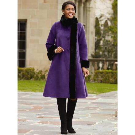 Color Closeout Elegance Swing Coat by LUXE