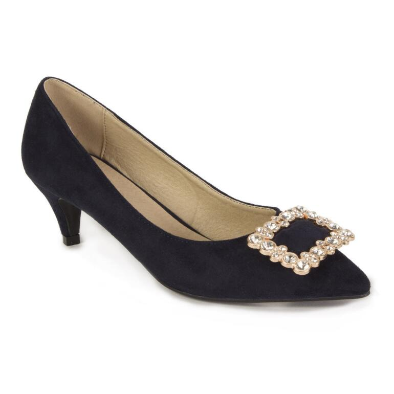 Color Closeout Embellished-Buckle Pumps by EY Boutique